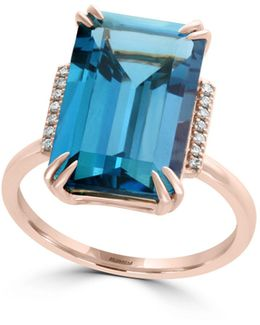 14k Rose Gold And Topaz Ring With 0.05 Tcw Diamond