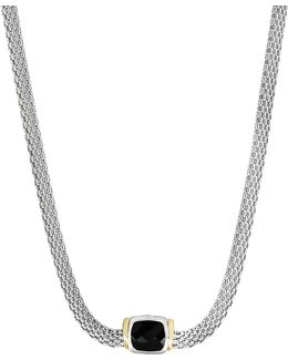 Onyx, 18k Yellow Gold And Sterling Silver Pendant Necklace