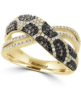 14k Yellow Gold Ring With 0.69 Tcw Diamond, Black Diamond, Espresso Diamond