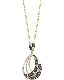14k Yellow Gold Pendant Necklace With 1.06tcw Diamond, Black Diamond, Espresso Diamond