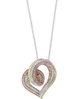14k Trio Gold Heart Pendant Necklace With 0.69tcw Diamonds