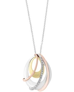 14k Trio Gold Pendant Necklace With 0.11tcw Diamonds