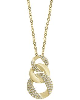 14k Yellow Gold Circular Pendant Necklace With 0.27tcw Diamonds