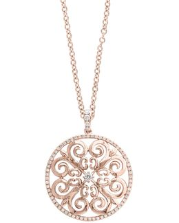 14k Rose Gold Scroll Pendant Necklace With 0.46tcw Diamonds
