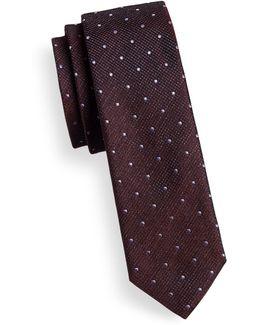 Layered Dot-grid Skinny Silk Tie
