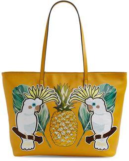 Alvito Pineapple And Cockatoo Print Tote