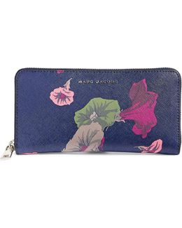 Morning Glories Saffiano Leather Wallet