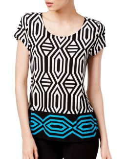 Petite Geometric-print Tie-back Top