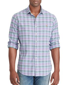 Big And Tall Classic-fit Plaid Oxford Shirt