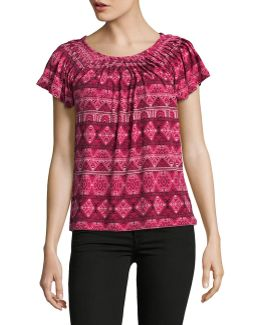 Petite Printed Pleat Neck Blouse