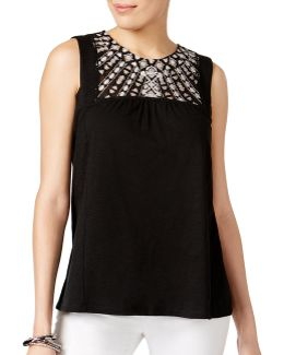 Petite Embroidered Sleeveless Top