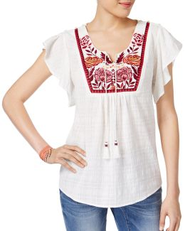 Petite Embroidered Cotton Peasant Top
