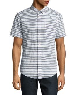 Custom-fit Striped Short Sleeve Shirt