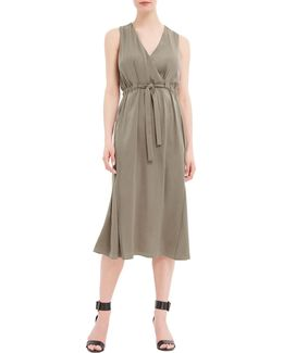Front Tie Sleeveless Wrap Dress