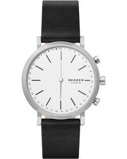 Hybrid Hald Stainless Steel Leather Strap Smartwatch
