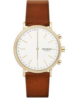Hybrid Hald Goldtone Leather Strap Smartwatch