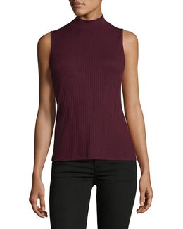 Ribbed Mock Neck Shell Top