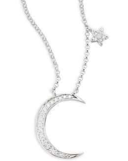 14k White Gold 0.09tcw Diamond Moon And Star Necklace