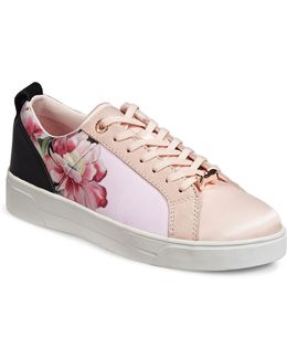 Womens Fushar Floral And Suede Sneakers With Bow Lace-keeper