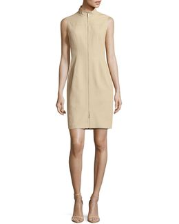 Mock Neck Two-way Zip Sheath Dress