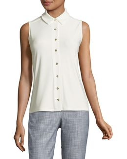 Button Front Sleeveless Blouse