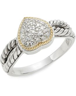 Two-tone 0.14tcw Diamond Heart Rope Ring