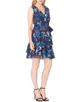 Floral Surplice Tiered Dress With Sash