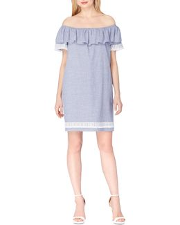 Stripe Cotton Off-shoulder Dress
