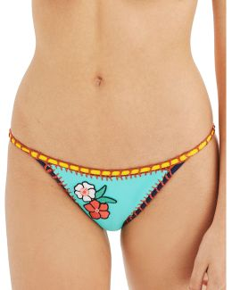 Embroidered Crochet Swim Bottoms