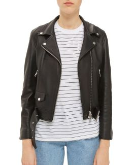 Belted Leather Biker Jacket By Boutique