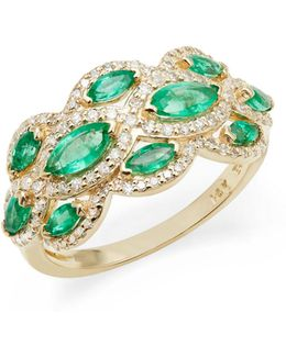 14k Yellow Gold Emerald And 0.41tcw Diamond Scatter Ring