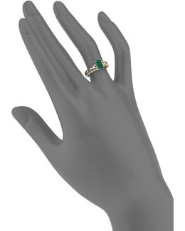 14k Yellow Gold Emerald And 0.09tcw Diamond Twist Ring