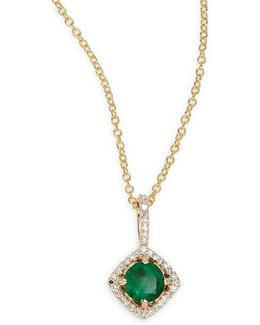 14k Yellow Gold Emerald And 0.11tcw Diamond Pendant Necklace