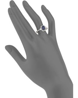 14k White Gold Sapphire And 0.29tcw Diamond Ring