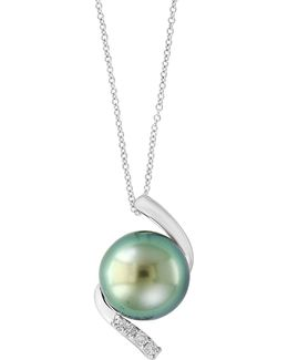 Round Tahitian Pearl And Sterling Silver Pendant Necklace With 0.16 Tcw Diamonds