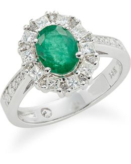 14k White Gold Emerald And 0.72tcw Diamond Oval Ring