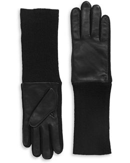 Long Leather-patch Knit Gloves