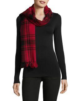Wool Blend Icon Plaid Blanket Wrap