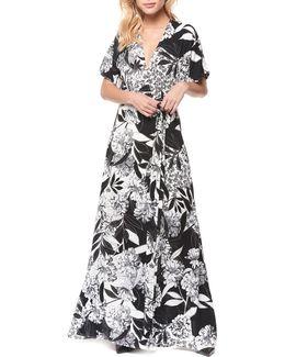 Tie-waist Floral-print Gown