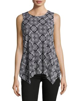 Petite Sleeveless Printed Mesh Sharkbite Tunic