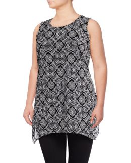 Plus Sleeveless Printed Mesh Sharkbite Tunic