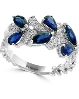 14k White Gold And Sapphire Ring With 0.14 Tcw Diamonds
