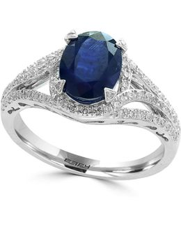 14k White Gold And Sapphire Ring With 0.32 Tcw Diamonds