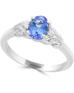 14k White Gold And Tanzanite Ring 0.05 Tcw Diamonds