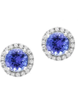 14k White Gold And Tanzanite Stud Earrings With 0.18 Tcw Diamonds