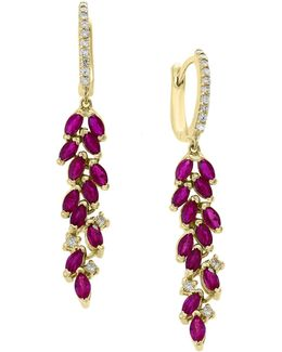 14k Yellow Gold And Ruby Cluster Drop Earrings With 0.24 Tcw Diamonds