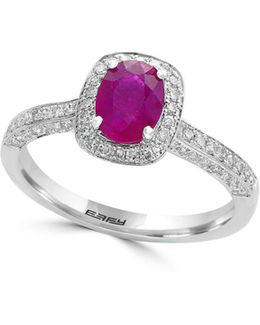 14k White Gold Amd Ruby Studded Halo Ring With 0.37 Tcw Diamonds