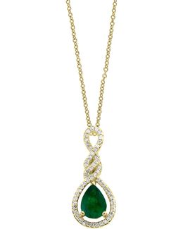 14k Yellow Gold And Emerald Pendant Necklace With 0.21 Tcw Diamonds