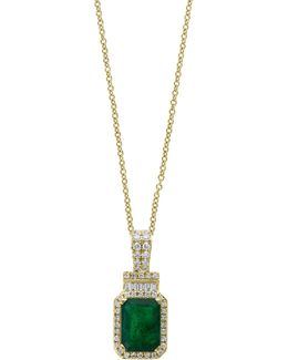 14k Yellow Gold And Emerald Pendant Necklace With 0.22 Tcw Diamonds