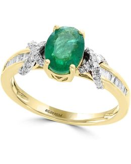 Two-tone 14k Gold And Emerald Ring With 0.24 Tcw Diamonds